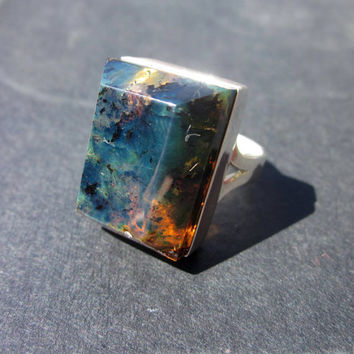 Men's Amber Ring, Blue Amber, Blue Amber Jewelry
