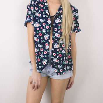 Vintage Floral Navy Button Up Blouse