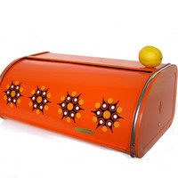 Vintage bread box, orange, starburst pattern, 70s kitchen, bread storage, Dutch retro