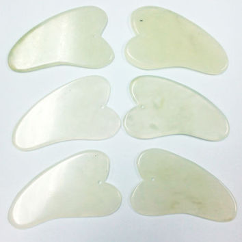 Gua sha Facial Treatment Body Massage Scrape Chinese Natural Jade Scrape Tool HU