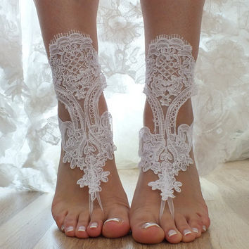 FREE SHIP white beach wedding barefoot sandals  lace sandals, , bridal barefoot, flexible wrist lace sandals