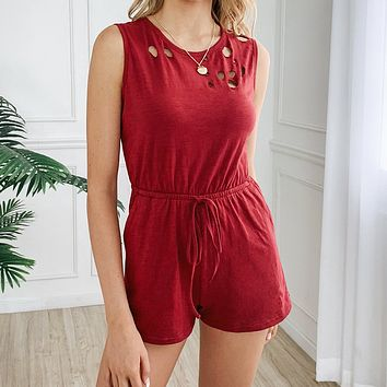 Summer Popular Women Casual Pure Color Sleeveless Rompers Burgundy