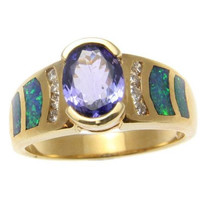 GENUINE 1.34CT OVAL TANZANITE AUSTRALIAN OPAL DIAMOND RING SOLID 14K YELLOW GOLD