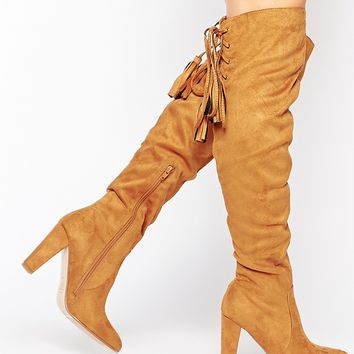 Missguided Heeled Over The Knee Boot with Lace Up Back