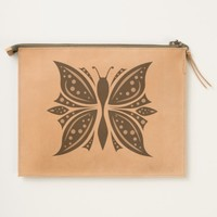 Leather Travel Pouch Butterfly Abstract