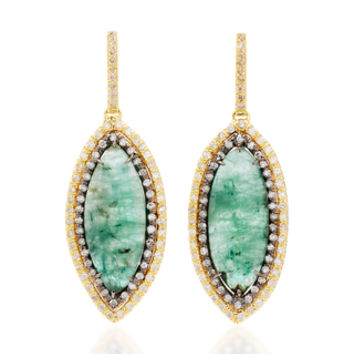 One-Of-A-Kind Rose Cut Emerald Marquis Drops | Moda Operandi