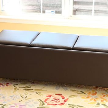 New Century® Leather Tray Top Storage Tribeca Ottoman Bench, Brown