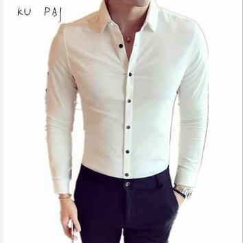 2017 autumn new men's long-sleeved shirt Slim Korean version of the color-free shirt double-collar business pure color cotton sh