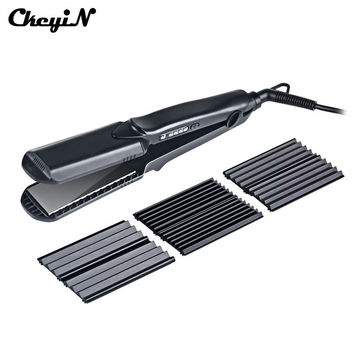 4in1 Ceramic Hair Straightening Irons + Electric Hair Curler Curling Iron + Corn plate Professional Magic Curls Styling Tool