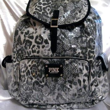 VICTORIA SECRET PINK ♥ GRAY BLACK SNOW LEOPARD CHEETAH BLING SEQUIN BACKPACK BAG