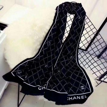 ONETOW Best Online Sale Chanel Keep Warm Scarf Smooth Skin-friendly Scarves Winter Wool Beautiful Shawl Diamond Lattice Style #1