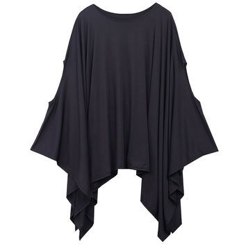 New 2016 Womens T Shirts Sexy Oversized Asymmetric Tunic Poncho Cape Casual Top For Women Batwing Sleeve irregular Loose t-shirt