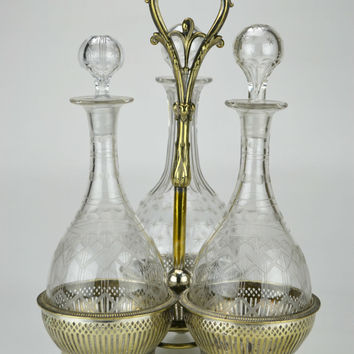 Silver Plated 3 Wine Port Cut Glass Decanter Carrier Antique English 19th Century