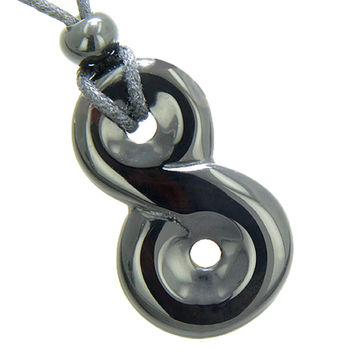 Infinity Magic Powers Knot Lucky Charm Spiritual Amulet Black Agate Pendant Necklace