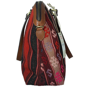 Vintage Kilim Bag made from Turkish Kilim aged 40+ and genuine quality leather , striped pattern with kilim motifs dancing colors