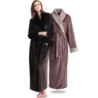 Women Men Elegant fur Thickening Flannel Extra Long Thermal Bathrobe Winter Kimono Warm Bath Robe Dressing Gown Plus Size Robes