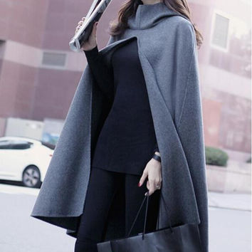 Autumn and Winter Clothes New Wave Hooded Woolen Cape Coat Jacket Women Coat Long Shawl Plus Size XXXL