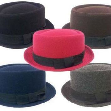 FEDORA GANGSTER ROLL UP DERVY WOOL Round Top FEDORA BUCKET HAT MEN WOMEN CAP