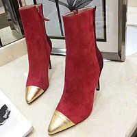 GUCCI New Fashion Fine High Quality High Pointed Heels Contrast Color Boots Shoes Red