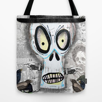 Skellington in White Tote Bag by Silva Ware by Walter Silva