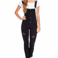 Refined Denim Skinny Overalls