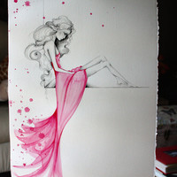 Painting OOAK Fine Art Original Watercolor Painting Pencil Drawing Pink Beautiful Girl Painting Large Abstract Painting Fashion Illustration