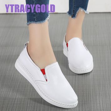 YTRACYGOLD women shoes new fashion casual platform striped PU leather classic women casual slip on white Tenis Flat sneakers