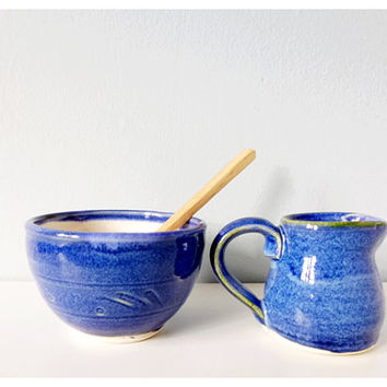 Pottery creamer and bowl blue ceramic handmade - mini pitcher and dish set with bamboo spoon