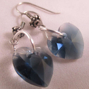 Swarovski sapphire crystal blend heart earrings Blue heart earrings Crystal heart earrings