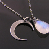 Moon and Moonstone Necklace, Sterling Silver Crescent Moon, Rainbow Moonstone Necklace