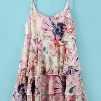 Pink Floral Spaghetti Strap Ruffled Dress