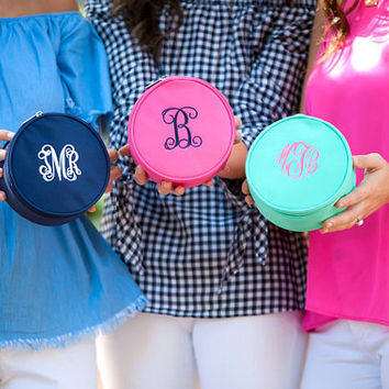 Monogrammed Jewelry Case, Monogram Jewelry Bag, Jewelry Travel Case, Jewelry Storage, Wedding Gift, Bridesmaid Gift, Gift for Her