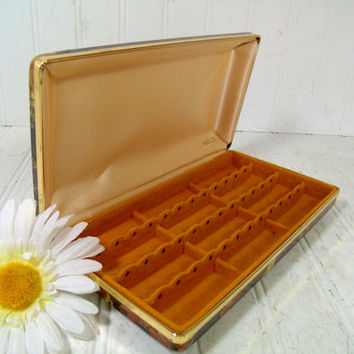 Mele Brown and Gold Vinyl Clam Shell Travel Jewelry Case - Vintage Hippie Design Pierced Earrings Box - Buff Satin & Gold Velveteen Lining