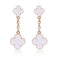 Beady Cleef Double Clover - Gold & White