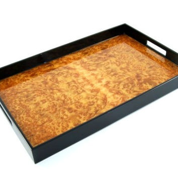 Burl Walnut Inlay Black Lacquer Breakfast Tray 14 x 22