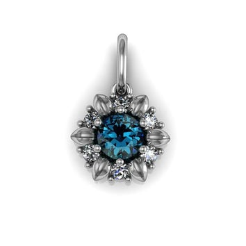 Sterling Silver Rose Leaf Floral London Blue Topaz Pendant