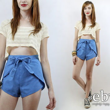 Vintage 70s High Waisted Wrap Shorts M L 30 High Waisted Shorts High Waist Shorts Daisy Dukes 70s Shorts Hot Pants 70s Wrap Shorts