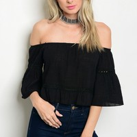 C7-B-3-T2215 BLACK OFF SHOULDER TOP 3-2-1