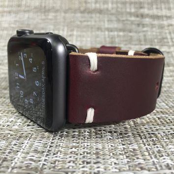 Apple Watch Band   Horween Leather Burgundy Color 8 Chromexcel   The Hudson Strap for Apple Watch