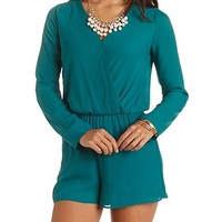LONG SLEEVE CHIFFON WRAP ROMPER