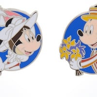 Disney Parks Minnie as Mary Poppins Mickey as Bert Pin Set New with Card