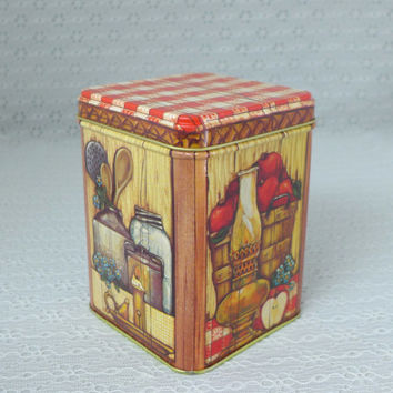 Hallmark Tin Container, Red & White Gingham, Apples, Teapot, Trivet, Eggs, Candle, Hurricane Oil Lamp, Forget-me-not flowers