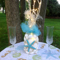 Beach Wedding Decoration- Sea Shell Wedding Reception Centerpiece Turquoise Aqua Accents- Flameless Candle Beach Tropical
