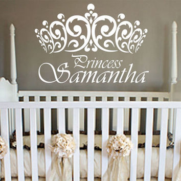 Princess Wall Decal Crown Vinyl Sticker Decals S Room Design Name Nursery