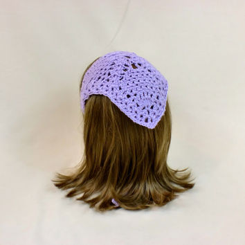 Hair Bandana Kerchief Purple Crochet Head Scarf Cover Tie Lace Triangle Headband Band Head Scarf Lavender