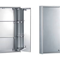Double door anodized aluminum cabinet with two double faced mirrors, two adjustable glass shelves and mirror back wall