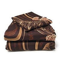 Tache Melted Gold Brown Floral Fitted Sheet (2815FIT)