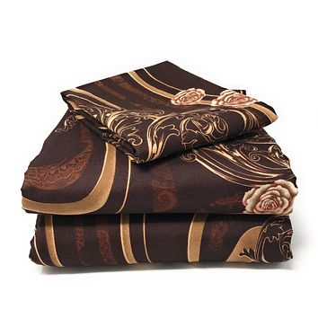 Tache 2-3 PC Melted Gold Brown Rose Pink Floral Fitted Sheet Set (2815) (TA2815FIT)