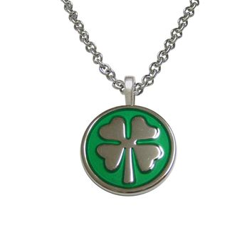 Four Leaf Clover Lucky Pendant Necklace With Shiny Chain