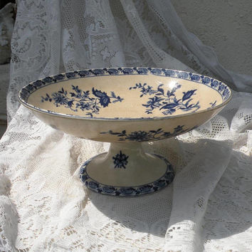 French antique ironstone cake stand plate, footed compote pedestal bowl, blue and white transferware, French country home, authentic antique